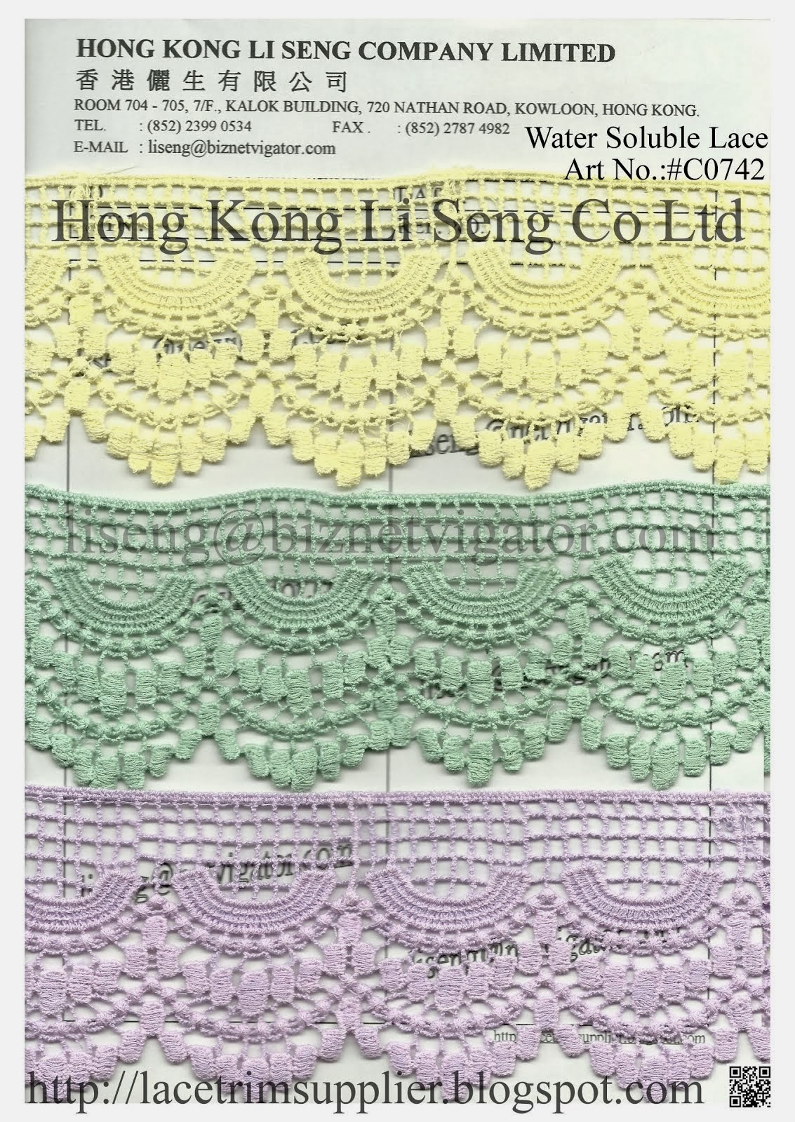 Dye to Match - Cotton Lace and Trims Manufacturer Wholesale Supplier - Hong Kong Li Seng Co Ltd