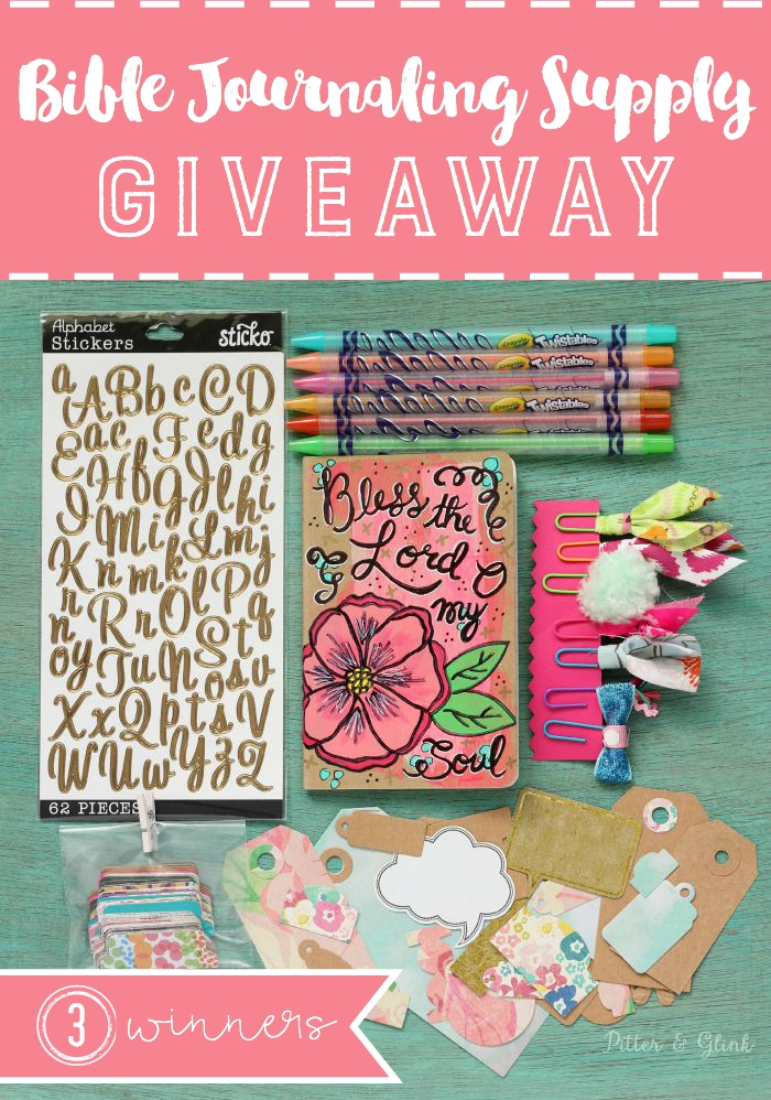 Bible Journaling Supply Kit Giveaway--Enter to win a lovely (mostly) handmade kit from pitterandglink.com. Three winners will be chosen! Open 7/20/15-7/30/15.