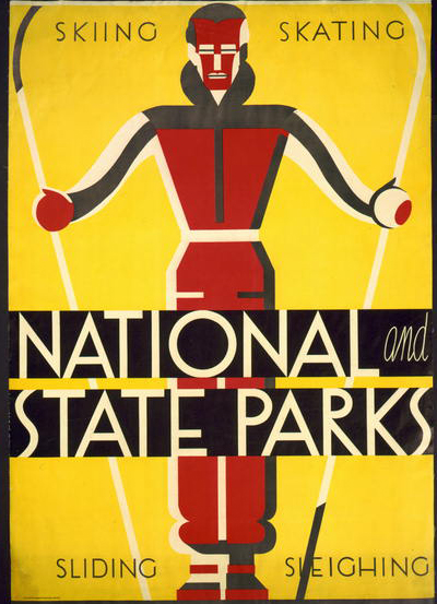 National and State Parks, Skiing, Skating, Sliding, Sleighing - Vintage National Park Sports Printable Poster