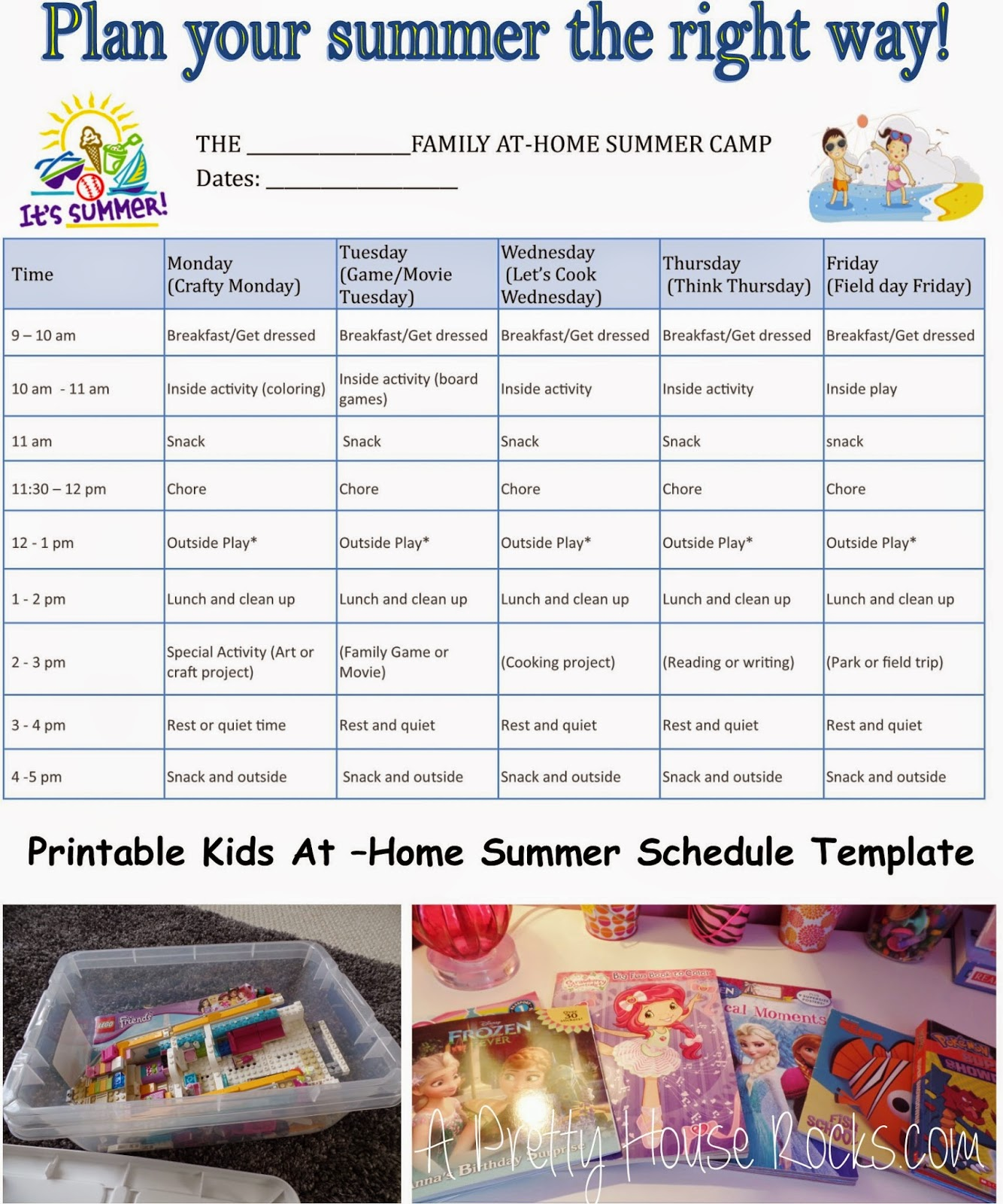 kids at home summer camp schedule printable template a. Black Bedroom Furniture Sets. Home Design Ideas