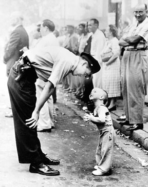 The 1959 Image Of A Young Boy And Policeman Is Sad Awful Under Sheet Covering His Lifeless Body Lies Alone On Street