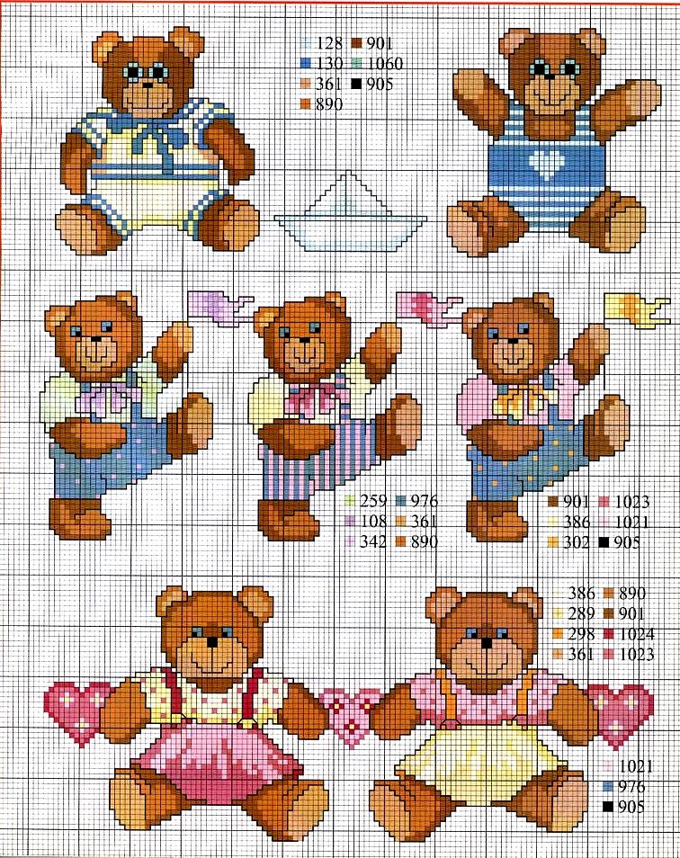 Grande raccolta di schemi e grafici per punto croce free - Punto a punto per i bambini di 3 anni ...