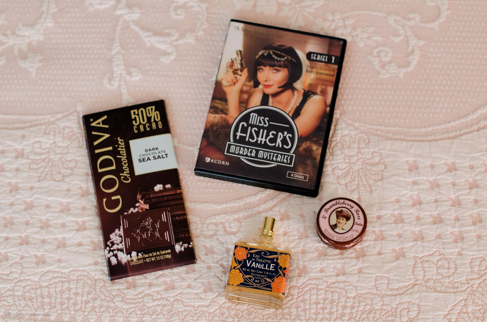 Sick Day Rituals || Godiva Sea Salt Chocolate || Outremer Vanille Eau de Toilette || Miss Fisher's Murder Mysteries || Brambleberry Rose Lip Balm