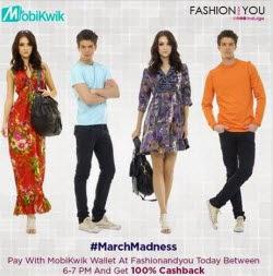 Fashionandyou 100% Cashback (No minimum purchase) with Mobikwik Wallet