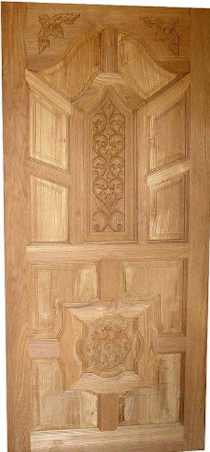 Latest kerala model wood single doors designs gallery i for Main door style
