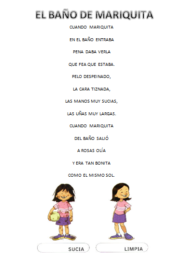 Baño Cancion Infantil:Esta es una poesía que nos cuenta como entró de sucia Mariquita al