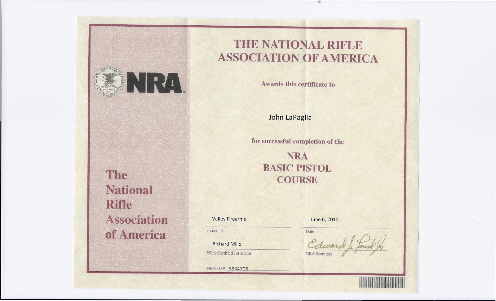 Top result 20 best of nra certificate template gallery 2018 kdj5 nrabasicpistolcoursecertificate instructorrichardmillo yelopaper Images
