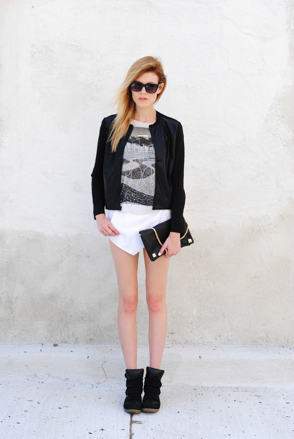 Skort, graphic tee and sneaker wedges