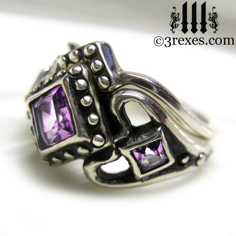 princess love gothic engagement ring set with purple amethyst
