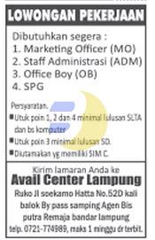 Lowongan Kerja Lampung, Jumat 27 Februari 2015 di Perusahaan Avail Center Lampung