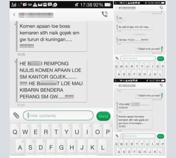 sms percakapan ancaman gojek online