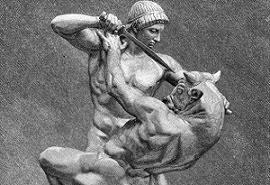 Teseu luta contra o Minotauro
