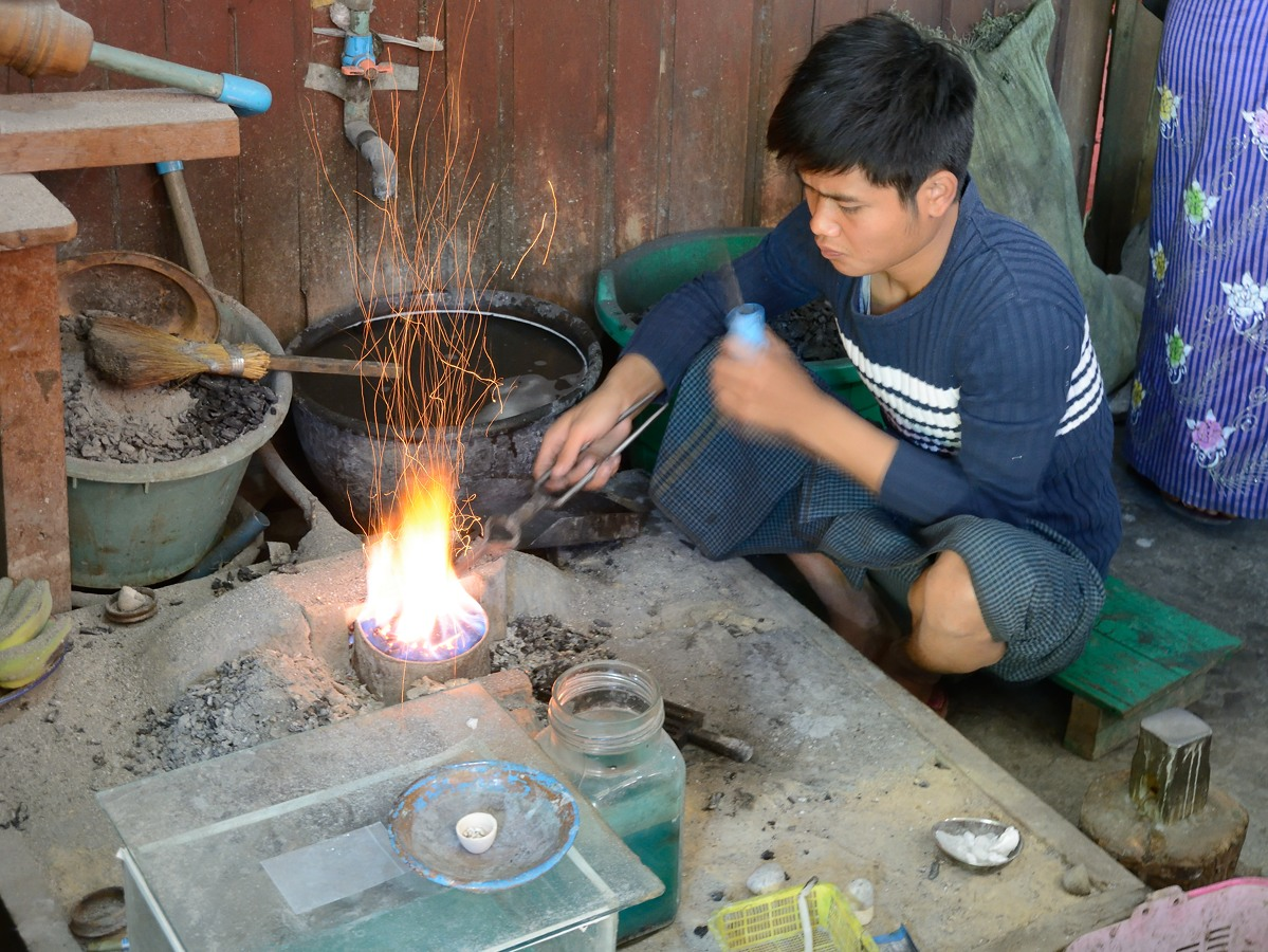 Silver workshop on Inle Lake in Myanmar
