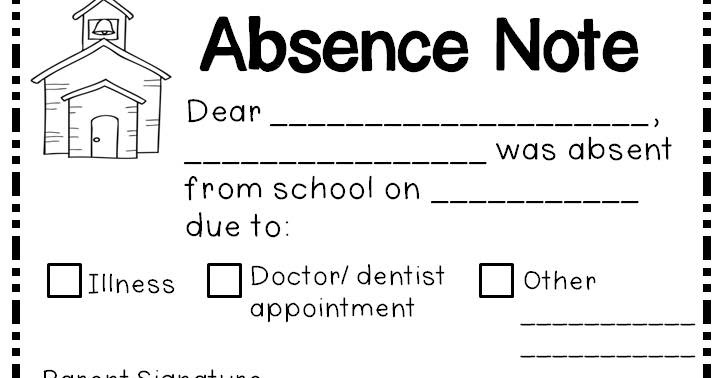 JenS Kinder Kids Absence Notes