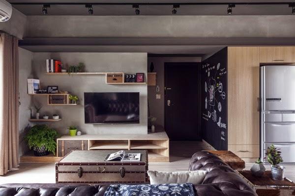 pared entrada con pintura pizarra apartamento estilo industrial china