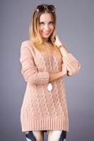 Pulover tricotat cu torsade, de culoare piersica ( )