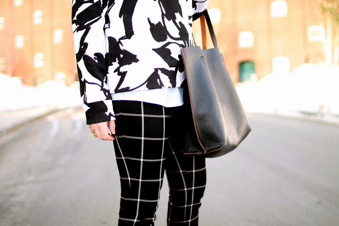 boston blogger, loft window pane print pants, winter style, layered, ann taylor loft
