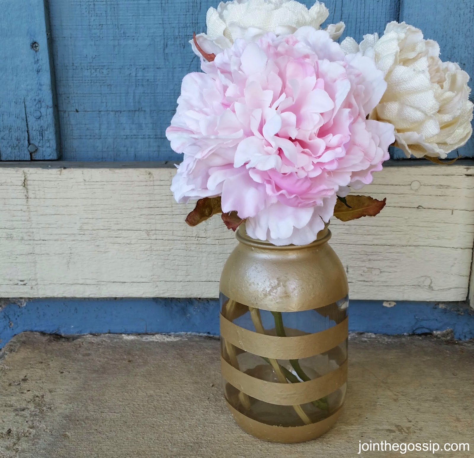 Striped Mason Jar Vase