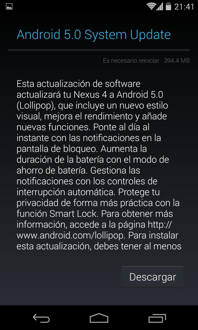 Anoche me apareció el aviso para actualizar mi Nexus 4 a Android 5.0 Lollipop.