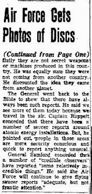 Air Force Gets Photo of Five Flying Saucers (-cont) - El Paso Herald - Post 7-30-1952