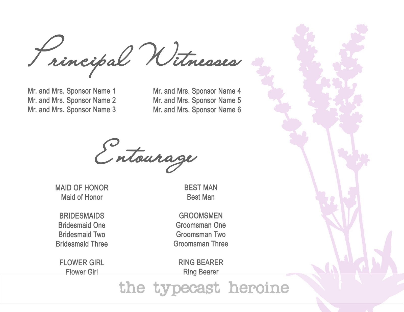 Sample Wedding Entourage List Invitation http://quilledthoughts.blogspot.com/2011/08/invitations.html