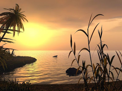 3d Sea sunset Wallpaper