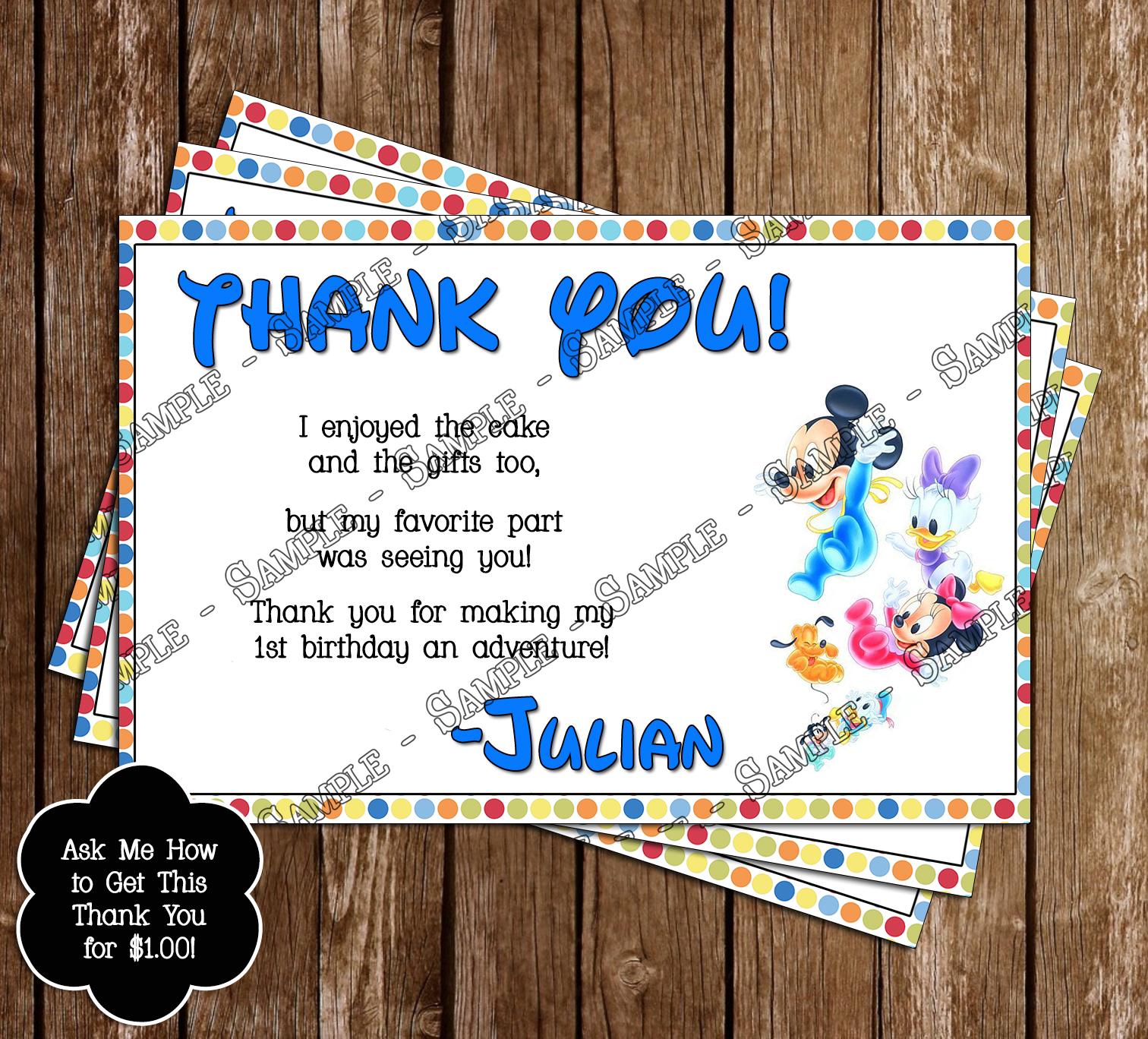 Disney Baby Mickey 1st Birthday Invitation And Thank You Card