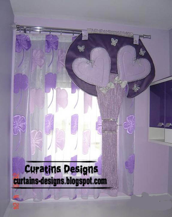 Romantic purple curtain design for girls room, heart curtain style
