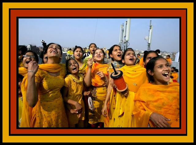 Happy Basant Panchami 2014 HD Images and Pictures girls flying kites
