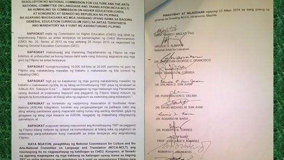 AGARANG MAGSAGAWA NG MGA HAKBANG UPANG ISAMA SA BAGONG GENERAL EDUCATION CURRICULUM (GEC) SA ANTAS TERSIYARYA ANG MANDATORY NA 9 YUNIT NG ASIGNATURANG FILIPINO