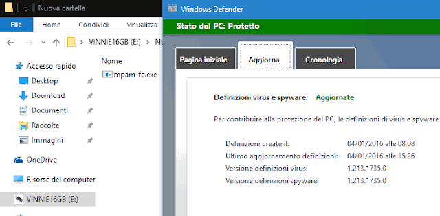 Definizioni virus e spyware Windows Defender aggiornate offline
