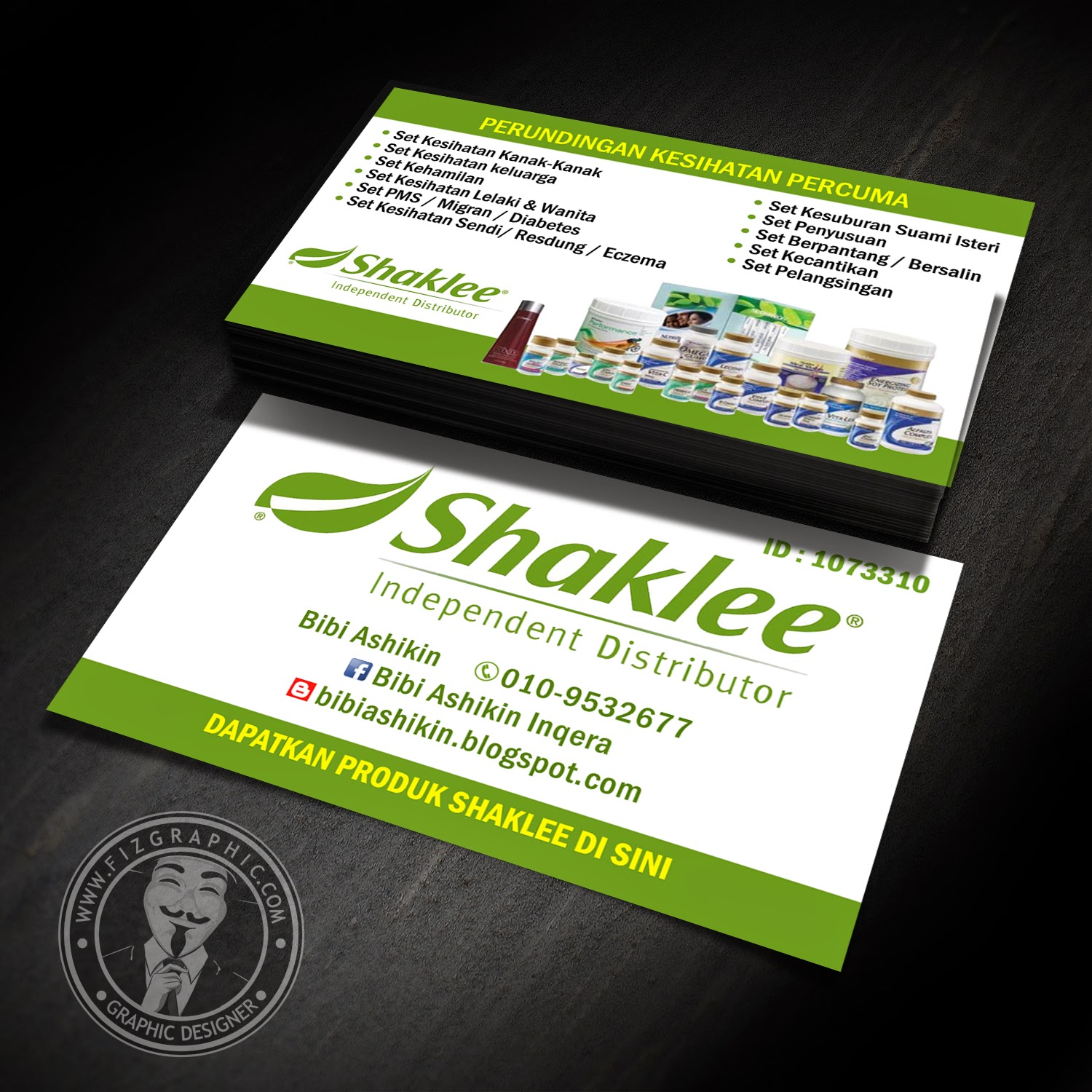 Fizgraphic design printing business card 52 for Shaklee business cards