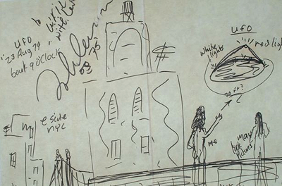 John Lennon's sketch of UFO he witnessed over New York 8-23-1974
