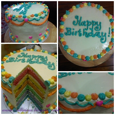 ixalicious birthday rainbow cake with cream cheese filling topping