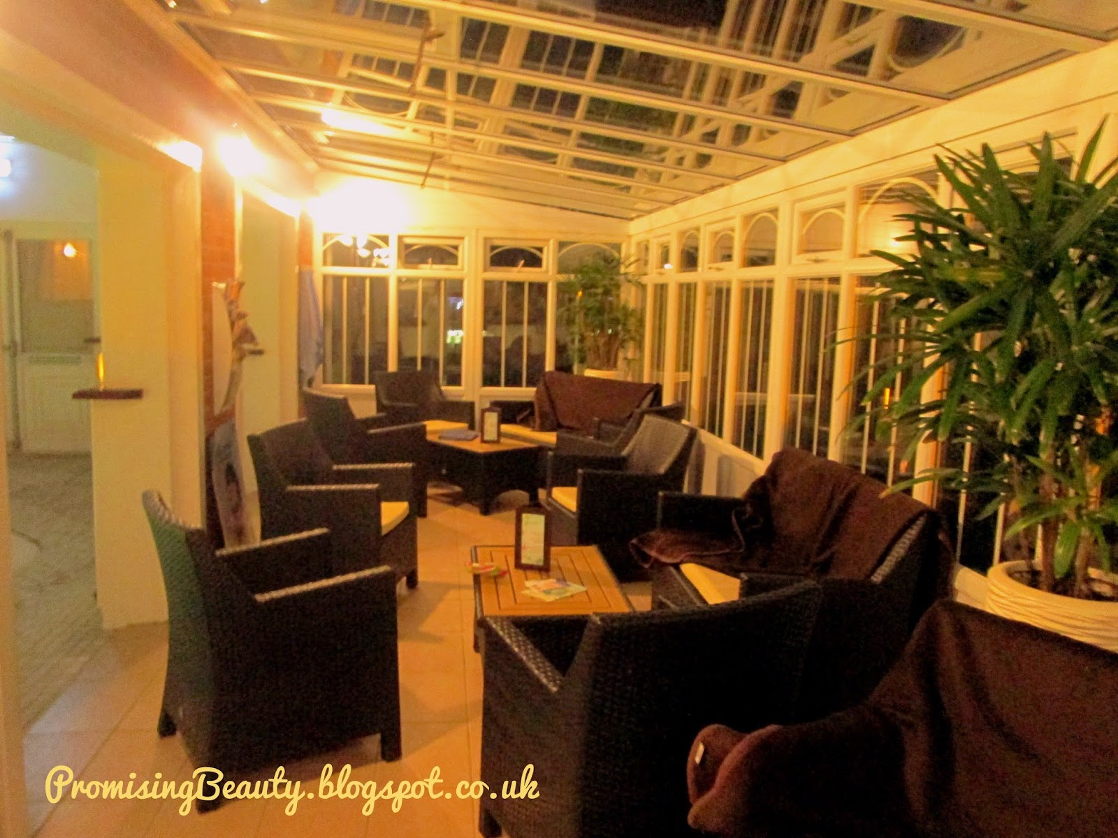 Alton Towers Spa, conservatory by night
