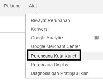 Menu perencanaan kata kunci di google adwords