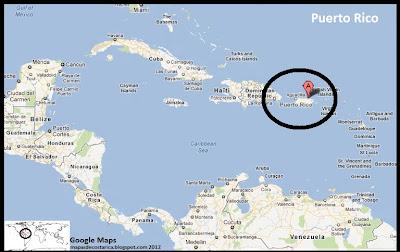 Mapa de Puerto Rico en Centroamérica y El Caribe, Google Maps