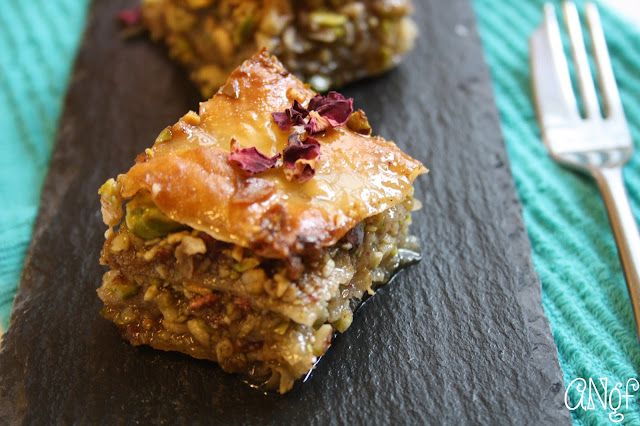 Crisp pastry, nuts and roses combine in this classic Greek dessert made gluten free from Anyonita-nibbles.co.uk