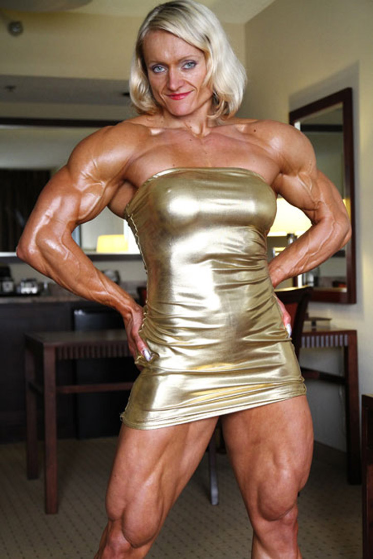 Brigita Brezovac Flexes Her Shredded Physique In A Gold Dress