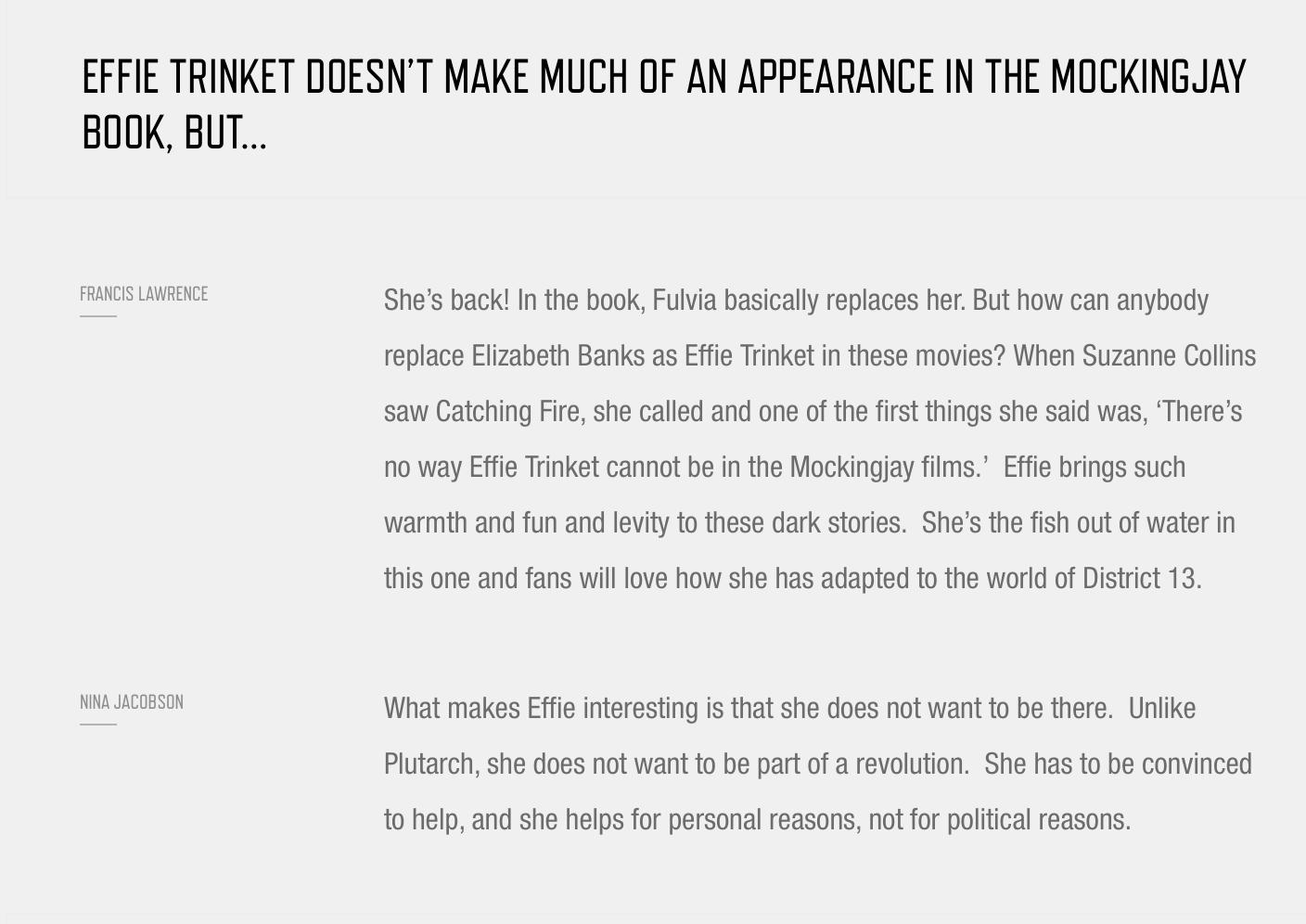 Effie Replaces Fulvia Mockingjay