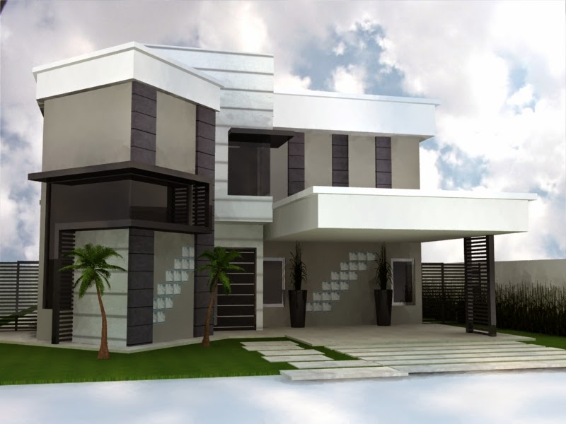 Toque de arte fotos de fachadas de casas modernas com for Pinturas de casas modernas
