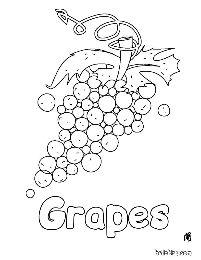 Coloring Pages for Kids Grapes