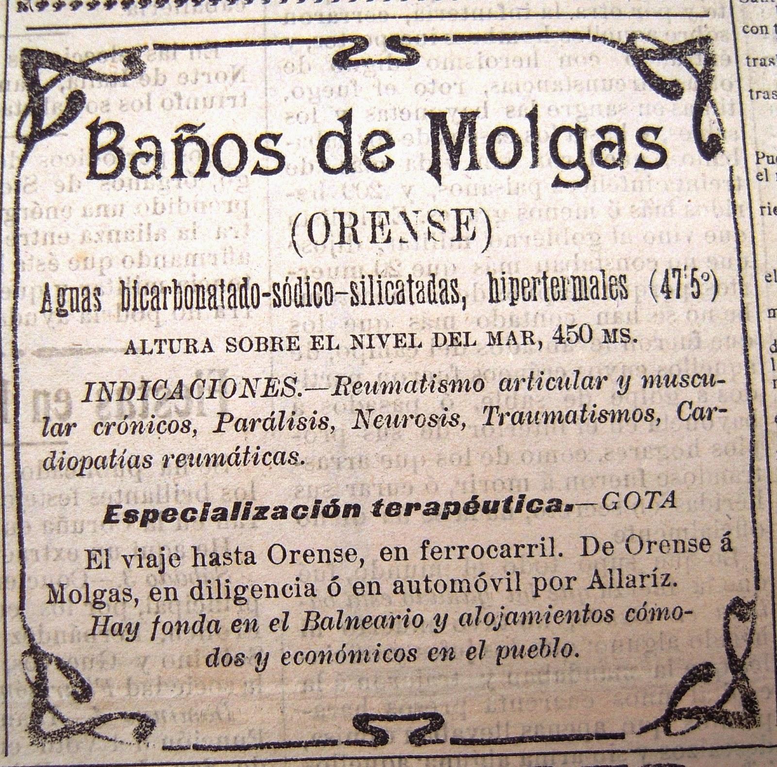 Diario de un m dico de guardia en los balnearios curaban la locura la regi n 25 de enero de - Banos de molgas ...
