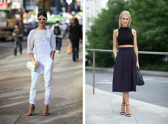 street style fashion week spring 2014, total black, total white