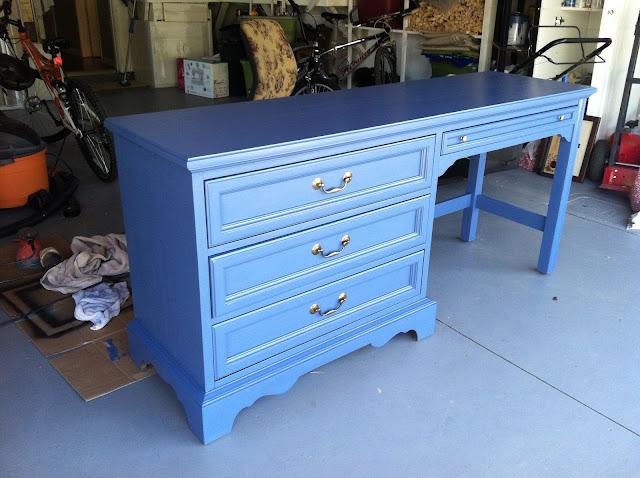 http://www.chasethestar.net, Craigslist, desk, blue, diy, thomasville, furniture