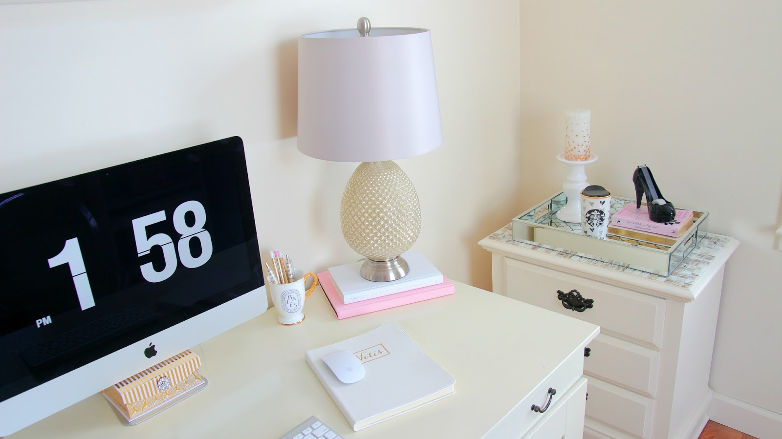 Desk Organization - Desk Decor - Girly Office - Ikea Desk