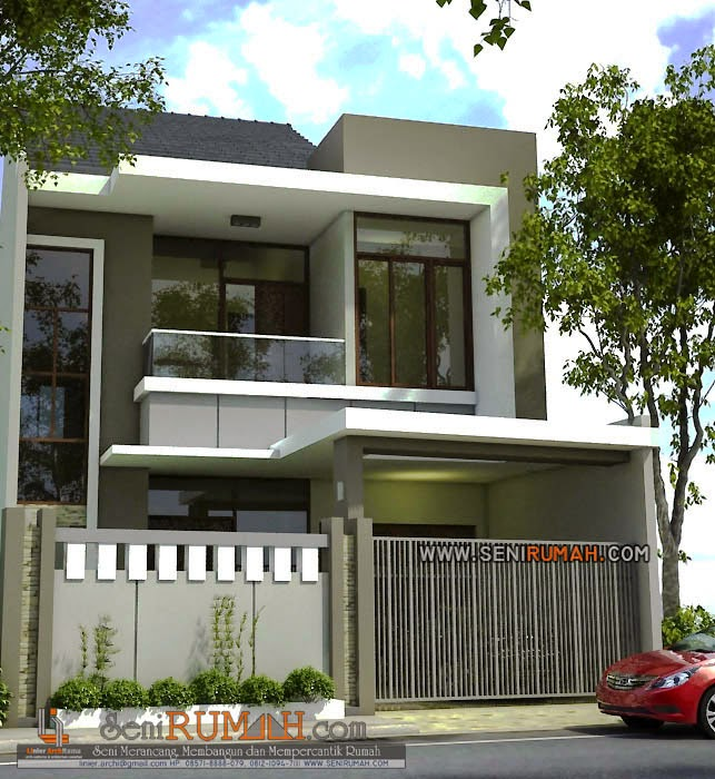 desain rumah di lahan tanah 8m x 21m seni rumah