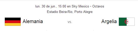 Antecedentes Alemania vs Argelia Junio 30 Brasil 2014