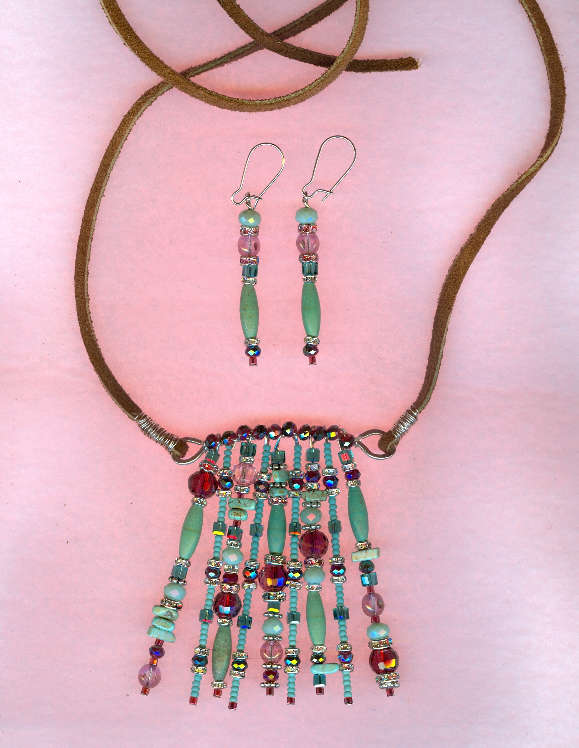 turquoise Bohemian necklace and earrings