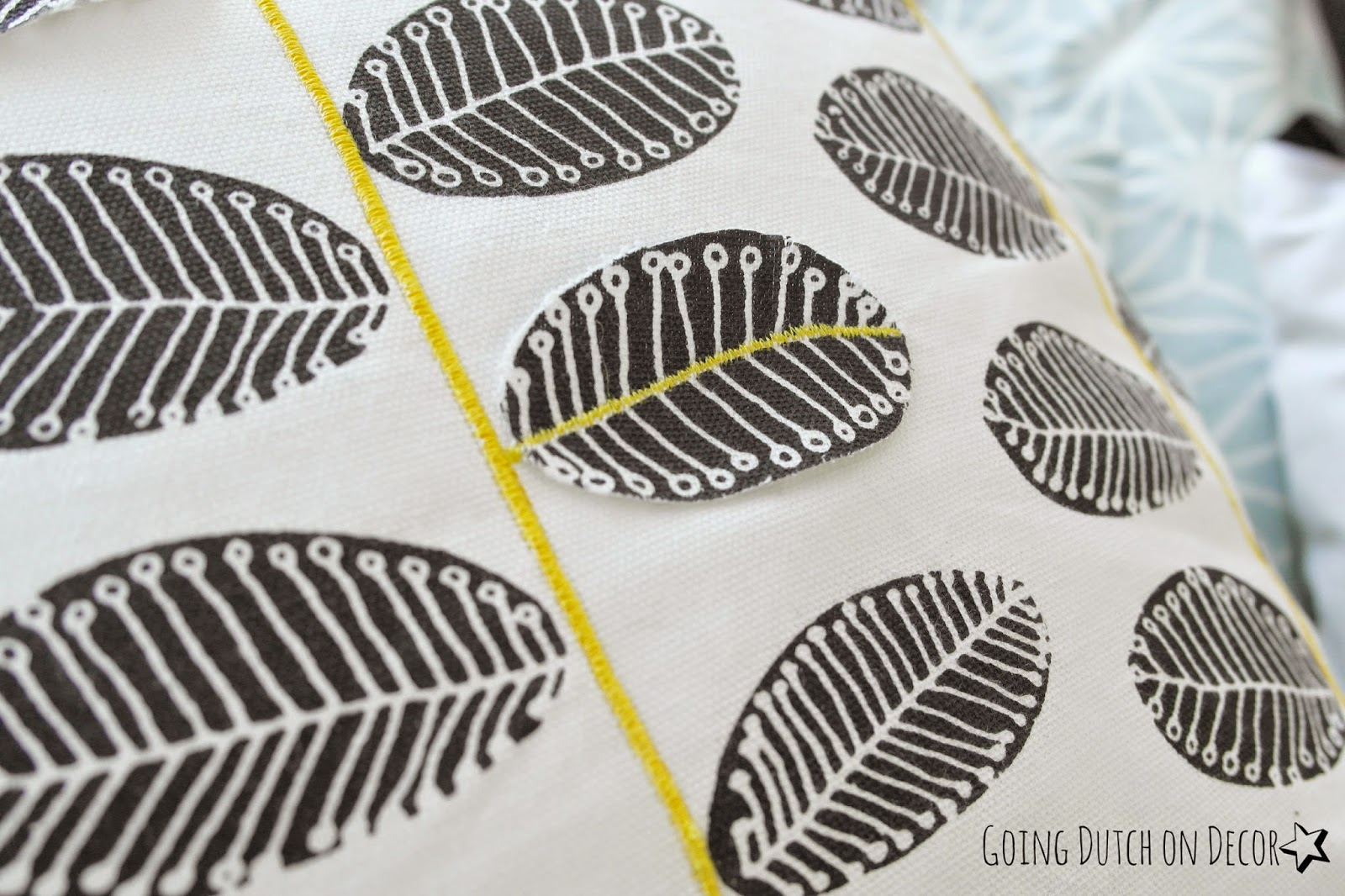 detail pillow yellow leaves